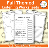 Fall Themed Music Listening Worksheets