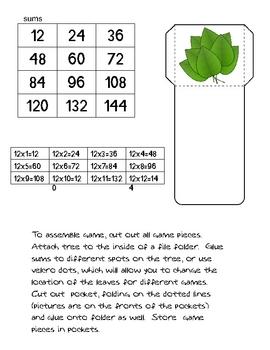 12 Family Multiplication File Folder Game