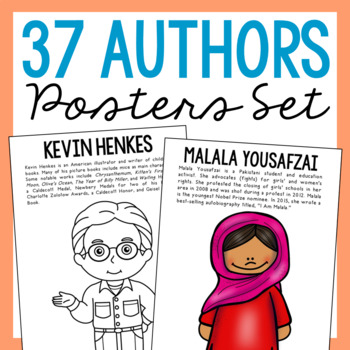 12 Famous Authors Coloring Page Crafts or Posters with Informational Text
