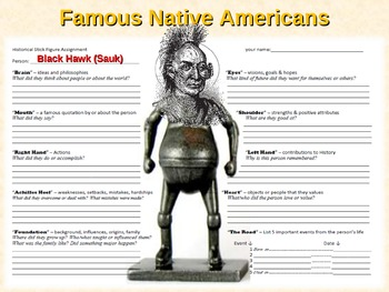 12 Famous Native Americans - Biography Stick Figure Assignments