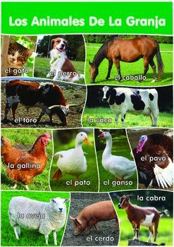 12 Farm Animals Poster- A3 size - Spanish Version.