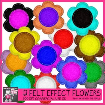 12 Felt Effect Flower Clip Art Images