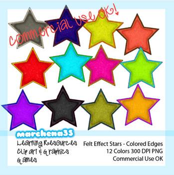 12 Felt Effect Stars - Clip Art for Teachers