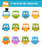 12 Free Retro Owl Characters