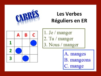 French ER Verb Activities; Do Now, Fast Finisher, Homework