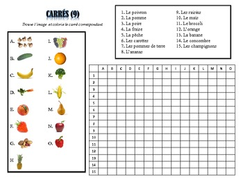 French Fruits and Vegetables Activities; Do Now, Fast Finisher, Homework