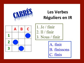 French IR Verb Activities; Do Now, Fast Finisher, Homework