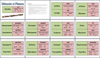 12 French Speaking Activities: Memory with Sentences