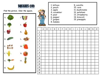 12 Fruit and Vegetable Vocabulary Puzzles; Stations, Centers, Individual, Group