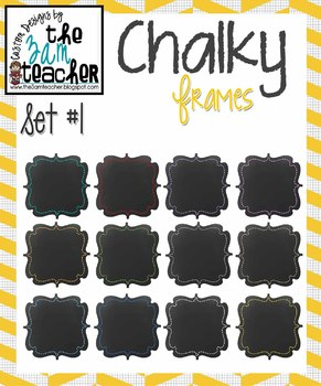 12 Fun Chalky Frames Clip Art - Set #1