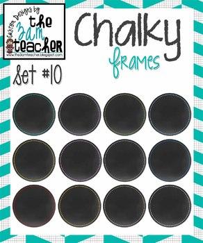 12 Fun Chalky Frames Clip Art - Set 10