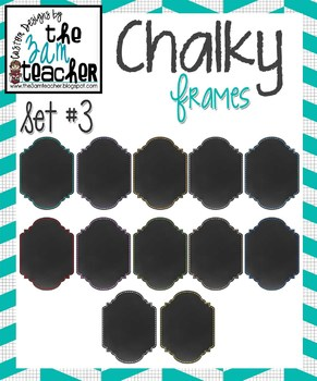 12 Fun Chalky Frames Clip Art - Set 3