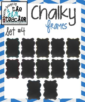 12 Fun Chalky Frames Clip Art - Set 4