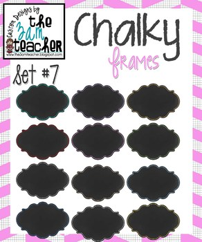 12 Fun Chalky Frames Clip Art - Set 7