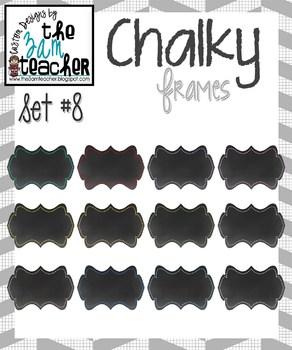 12 Fun Chalky Frames Clip Art - Set 8