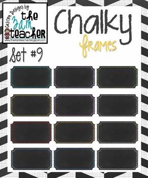 12 Fun Chalky Frames Clip Art - Set 9