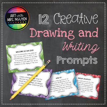 12 Creative Drawing and Writing Prompts (Task Cards) - GRE