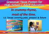 12 Fun Grammar Tense Posters in Rhyme & Bright Colors: For High-School / Adults