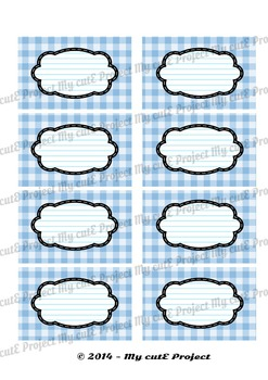 12 GIFT LABELS Printable - Gingham - Instant Download - 3 inches X 2,5 inches