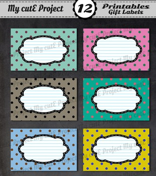 12 GIFT LABELS Printable - Polka dots mix - 3 inches X 2,5 inches