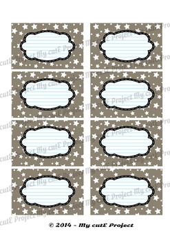 12 GIFT LABELS Printable - Stars - Instant Download - 3 inches X 2,5 inches