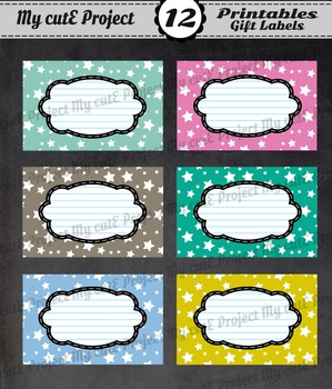 12 GIFT LABELS Printable - Stars - Instant Download - 3 in
