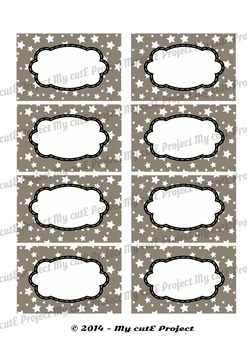 12 GIFT LABELS Printable - Stars v2 - Instant Download - 3 inches X 2,5 inches