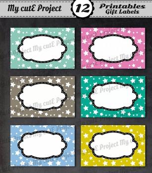12 GIFT LABELS Printable - Stars v2 - Instant Download - 3