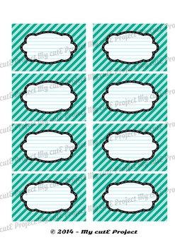 12 GIFT LABELS Printable - Stripes - Instant Download - 3 inches X 2,5 inches