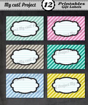 12 GIFT LABELS Printable - Stripes - Instant Download - 3