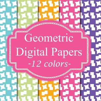 12 Geometric Digital Papers Background Papers