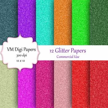 12 Glitter Digital Papers