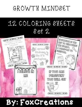 12 Growth Mindset Coloring Sheets ~ Set 2
