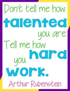 12 Growth Mindset Posters in Bright Colored Type