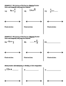 12) Guided Notes: Solving Inequalities: Multiplying or Dividing to accompany PPT