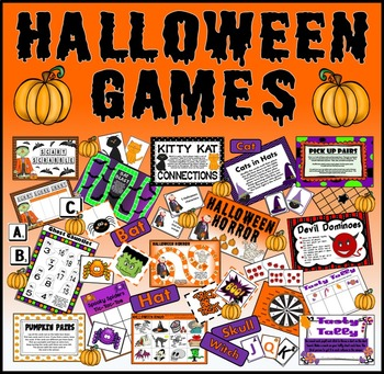 12 HALLOWEEN GAMES TEACHING RESOURCES EYFS KS1-2 BOARDS BINGO CARDS ETC