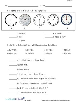 12 HOUR 24 HOUR ACTIVITY PACK (FRENCH)