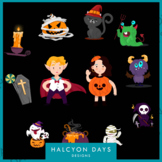 12 Halloween boy and girl clipart graphics for classroom crafts / decorations