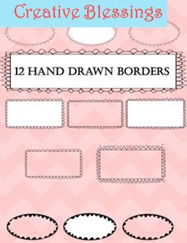 12 Hand Drawn Borders.