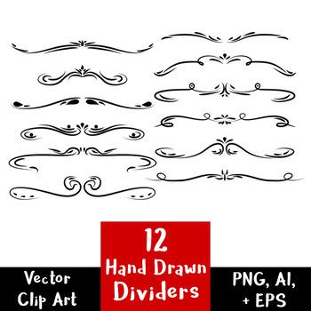 12 Hand Drawn Text Dividers | Decorative Vintage Flourish Border Clipart