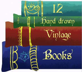 12 Hand drawn Vintage Book Spines