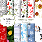 12 Holiday Digital Papers
