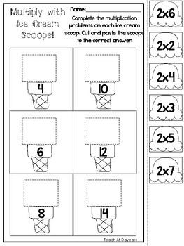 12 Ice Cream Scoop Multiplication Worksheets. 2nd Grade-4th Grade Math.