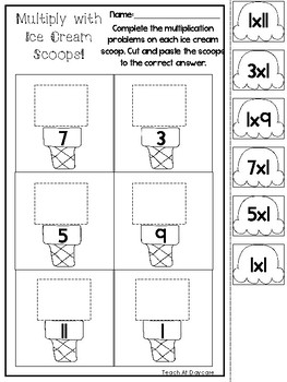 Ice Cream Scoop Multiplication Worksheets Nd Gradeth Grade  Originaljpg