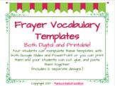 12 Interactive Digital Vocabulary Frayer Model Templates also 12 Printables