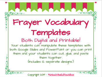 12 Interactive Digital Vocabulary Frayer Model Templates also 12 Printables
