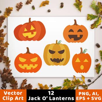 12 Jack O' Lanterns Clipart, Pumpkin SVG, Fall Clipart, Halloween Clipart SVG