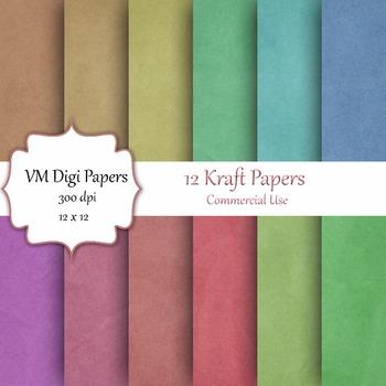 12 Kraft Digital Papers