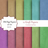 12 Kraft Digital Papers