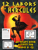 12 Labors of Hercules:  Greek Mythology Puzzle and Escape Room Activity